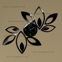 Free shipping Big flower wall clock modern design luxury mirror wall clock,3d acrylic mirror wall clocks,best gift!