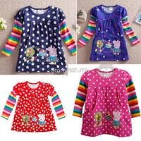 peppa pig character funky kids boys cotton t-shirt,lovely children baby long sleeves tops,spring autumn cute child outerwear