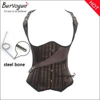 2014 new arrival western shoulder strap pirates corset bronze satin leather corset bustier brown steampunk corsetlets  plus size