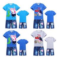 peppa pig,new 2014 Baby Boy Girls Clothing Sets,Sport Suits,Children t shirts + Shorts Kids Tracksuits Boys Clothing Set