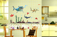 Big White Shark Cartoon Wall Stickers for Kids Room Bathroom Animal Vinyl Wall Decal DIY Home Decor Stickers 50x70cm E2013021