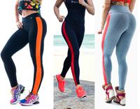 2014 New Fashion Women's Stripe Sport Patchwork Gym Yogoa High Waist Leggings Cotton Super Stretched Plux Size