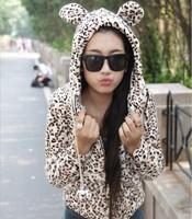 Antumn-Winter Lovely Big Ears Hooded  Jacket Animal Print Sweater Leopard Sweatshirts Cute Hoodies 2014 women Fashion Hot sale