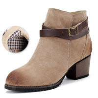 Spring and autumn boots genuine leather brief thick heel ankle-length women's boots martin boots shoes
