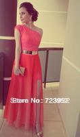 Dresses Coral Color Vestidos Formales Best Seller Lace One Shoulder Side Slit Gold Belt Prom Gowns Fromal Evening Maxi Dresses