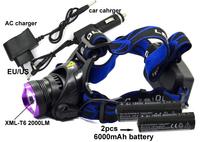 Headlight 2000 Lumens CREE XM-L T6 LED Headlamp Flashlight Head Lamp Light + 2*18650 6000mah battery + AC charger + Car Charger