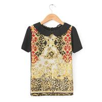 European Style ZA Bershka Women Blouses Shirts Peter Pan Collar Short Sleeve Chiffon Blouse Ladies Shirt Tops Blusas Femininas