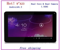 Wholesale  2014 New 9 inch  Allwinner A23 Dual Core  Dual Camera  android 4.2 wifi  8GB tablet pc Free shipping