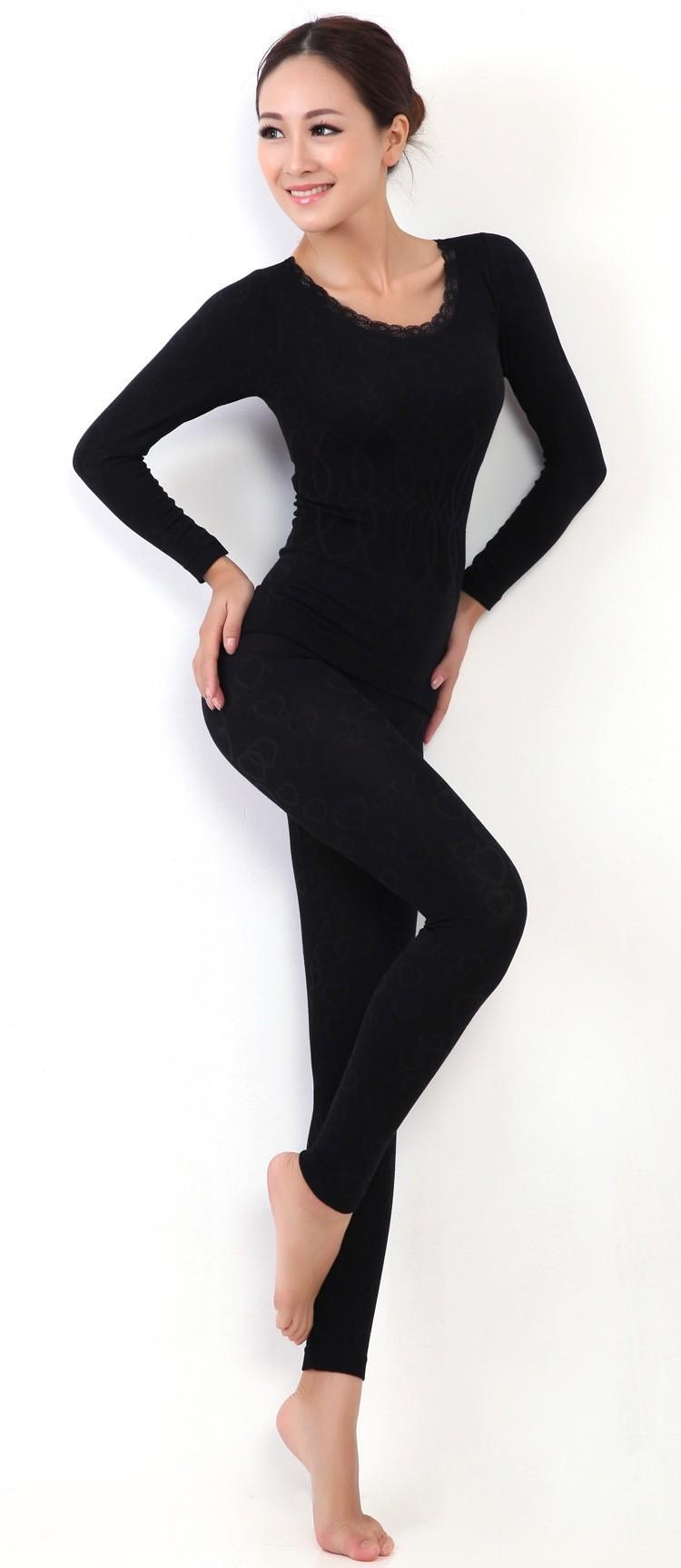 Женщины в о шея кружево интимные пижама тепловой нижнее белье пижамы комплект длинный рукав для женщины кальсоны осень / зима для дома