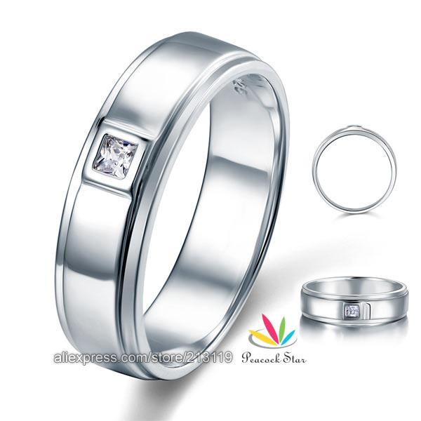 Принцесса вырезать ободковая закрепка мужчины в сплошной 925 чистое серебро свадьба кольцо ювелирные изделия CFR8051