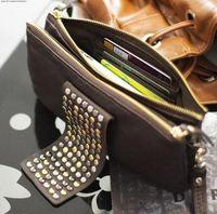 New 2014 Free Shipping Hot Selling PU Leather Fashion Designer Rivet Bag Women Wallet Brand Clutch Bag Purse