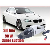 Super Suction Mini 12V 90W High-Power Wet and Dry Portable Handheld Car Vacuum Cleaner White Color Free Shipping