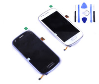 For Samsung Galaxy S3 mini i8190 LCD With touch screen Digitizer Assembly blue and white free shipping china post with tool
