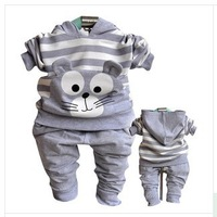 Wholesale-2013 children's clothing set gilrs autumn and winter suit set hoody set stripe cat