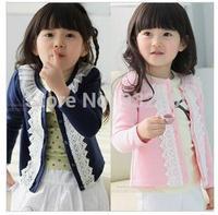 2014 Korean version children's Blouses kid's clothing girls sweet casual yarn lace round neck collar cardigan jacket