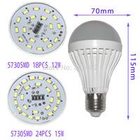 LED bulb lamp bulbs led lights E27 3W 4W 6W 9W 12W 15W 5730SMD  2835SMD Cold white/warm white AC220V 230V 240V Free shipping