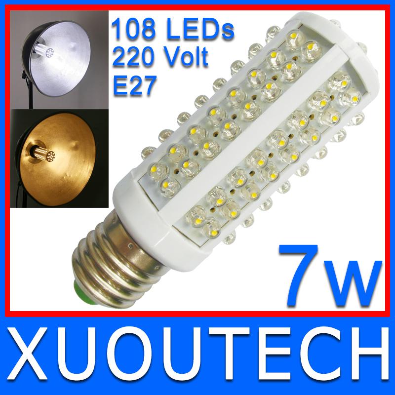 108 LEDs High Brightness Table Lamp 7W E27 220V With 360 degree Spot light Cold Warm White LED Bulb Lamp Free/Drop SHIPPING(China (Mainland))