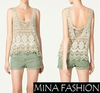Freeshipping 2014 summer fashion VINTAGE STYLE U-NECK CROCHET TOPS