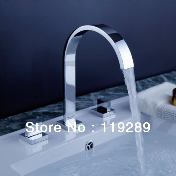 Polished chrome torneira banheiro two handles deck mounted bathroom widesprea - Robinetterie de luxe salle de bains ...