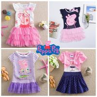 Retail Free shipping! Peppa Pig Girls' dresses fashion 2014 kids wear baby dresses casual peppa pig girls lace dresses nova LU1