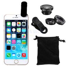 Hot sale 3 in 1 Wide Lens + Macro Lens + 180 Fish Eye Lens For iPhone 4 4s 5 5s 5c, for all mobile phones Digital Camera