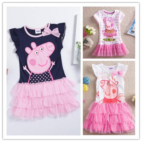 One Pcs!Peppa pig girl's dress baby girls pepe pig dresses children Fashion clothing Kids cartoon wear child girl cothes(China (Mainland))