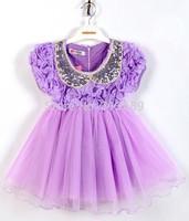 1PC Retail Lovely Girls Dress Summer 2014 Baby Kids Sequins Collar flower Short Sleeve Lace Princess Dress Pink Purple 1343 cux