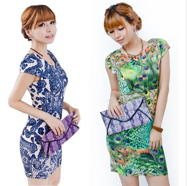 2014 Autumn summer Women's Fashion Dresses Vintage V-neck Sexy Dress Women Porcelain Print Plus Size Vestidos Bodycon Dress XXXL(China (Mainland))