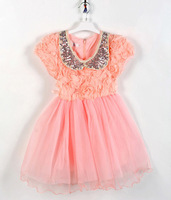 2014 new Sequins Sequined collar baby girl dress chiffon girl party dress kids flower lace girls clothes for age 2-6T 1343 W3