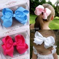 12 colors Infant hairbows Ribbon bow hair clip Baby girls hairclip Girls Boutique Handmade Hair Bow Hair Clip