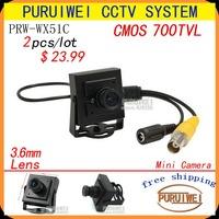 Wholesale 2pcs/lot 100% Original 1/4''CMOS 700tvl 960H hidden Mini Security cctv camera.Free Shipping!!