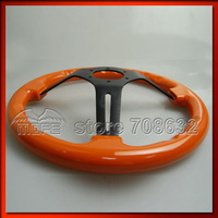 SPECIAL OFFER 3 Aluminum Black Spokes Deep Dish Wood Classic White 14 Inch 350mm Steering Wheel