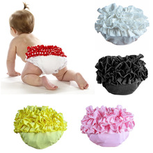 Solid Color Cotton Ruffle Bloomers Layers Baby Ruffle Diaper Cover Flower Newborn Shorts Toddler Summer Pants  Baby Photo Props(China (Mainland))