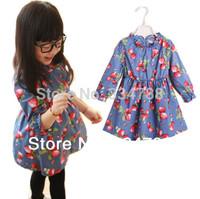 2014 Spring New Fashion Flowers Printed Girl Dress High Quality Cotton Children Dress Hot Selling Girls' Dresses Kids Clothing