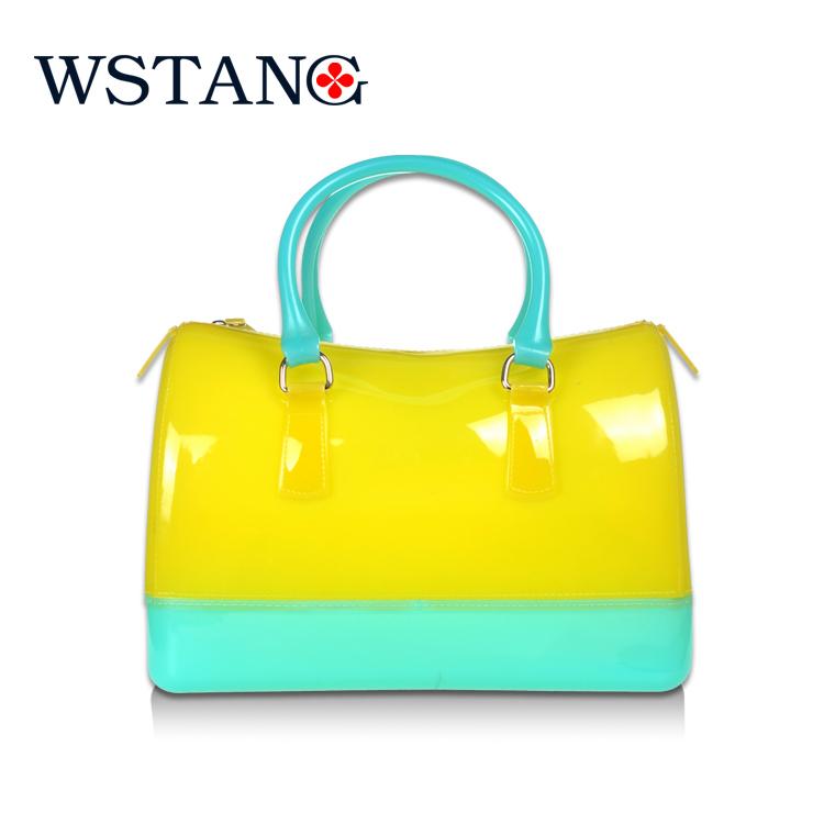 W S Tang 2014 NEW jelly candy bag women's handbag beach bag new fashion and popular silicone bag colorful(China (Mainland))