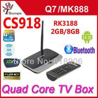 Free Shipping CS918 Android TV Box MK888 Quad Core RK3188 2GB/8GB Bluetooth HDMI XBMC Media Player WIFI RJ45 With Remote Control