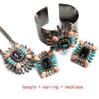 Hot Shourouk  Jewelry sets  pendants earring bangle women fashion pendant statement crystal necklace MATCHING earring bracelet