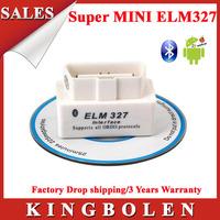 2014 High Quality SUPER White MINI ELM327 Bluetooth OBD2 V1.5 Universal OBDII Car Diagnostic Scanner Super  ELM 327