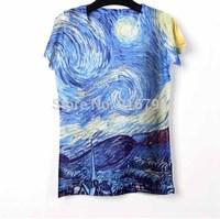 Summer Woman T shirts 2014 Rock Punk 3D Printed T-shirt Women Tshirt Women Blouses Tops For Women Van Gogh Camisetas