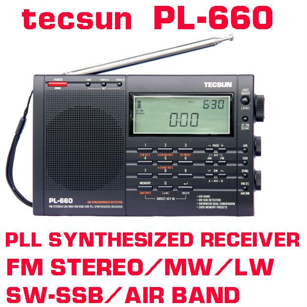 Free Shipping Tecsun pl-660 FM radhio Stereo LW MV SW-SSB AIR PLL SYNTHESIZED PL660 Radio(China (Mainland))
