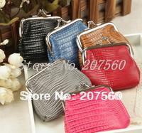 Free shipping!Wholesale:animal grain lizard grain PU zero wallet,women coin purses, metal buckle purses,change purse