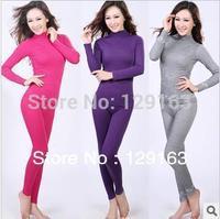 Sales Promotion ! Autumn Winter Women's Turtleneck Seamless Underwear Suits Women Thermal Underwear Long Johns Sets H1