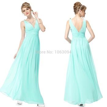 HE09016 2014 Ever-Pretty Зеленый Double V Elegant Evening Dress