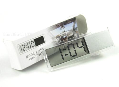 1PCS Mini Car Windshield Suction Cup Digital Auto Clock Time Calendar LCD Display Solar Function(China (Mainland))