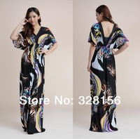 2014 New Fashion V-Neck Butterfly Printing Bohemian Maxi/Long summer beach women Dress Plus Size L-XL Free Shipping