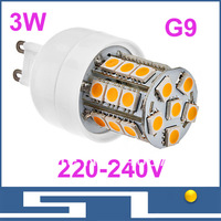 LED lamp G9,led epistar 3w 27x SMD5050, Warm White/Cold white LED Corn Bulb (220-240V), 10pcs/lot,free shipping