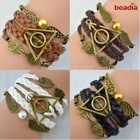 Free shipping Antique Bronze harry potter magic hallows bracelet, harry potter bracelet, owl wing bracelet