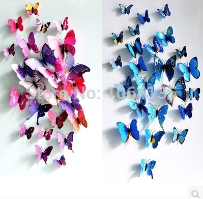 Free shipping 3D three-dimensional wall stickers butterfly fridge magnet wedding photography props 12 suit home decoration(China (Mainland))