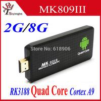 MK809 III Rockchip RK3188 Quad Core Mini PC Cortex A9 1.6GHz 2GB+8GB Android 4.2 Bluetooth Wifi HDMI Smart TV Stick Box MK809III
