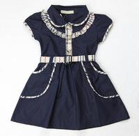 Girls Dress New 2014 100% Cotton Girl Dress Brand Designer Patchwork Plaid Summer Girls Dresses Blue Children Clothing